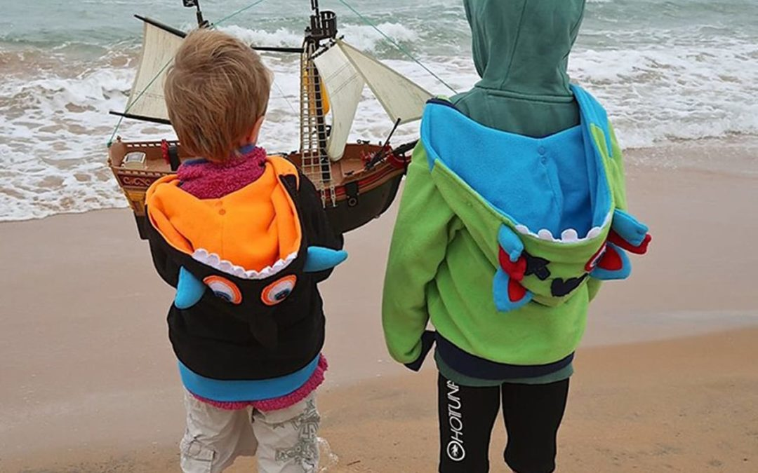 Brothers' delight at their Playmobil pirate ship cruising to Scandinavia